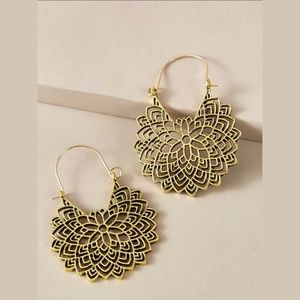 Tribal Textured Round Drop Earrings